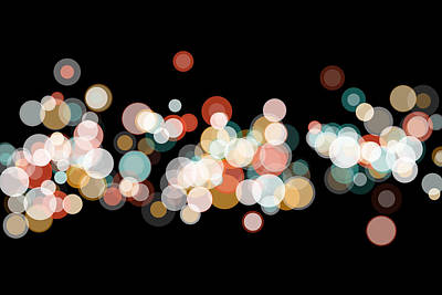Retro Digital Art - Orange Bokeh Circle Pattern Horizontal by Frank Ramspott