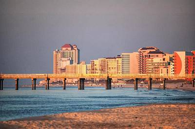 Orange Buildings On The Beach Print by Michael Thomas
