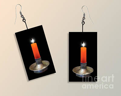 Orange Candle Earrings Original by Melissa A Benson