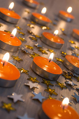 Celebrate Photograph - Orange Candles by Carlos Caetano