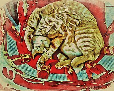 Orange Cat Red Chair Print by Rebecca Korpita