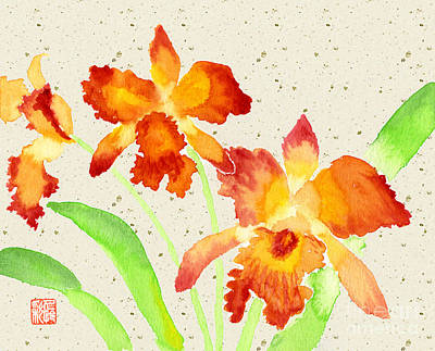 Orange Cattleya Orchids Watercolor Painting Print by Beverly Claire Kaiya
