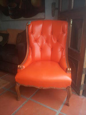 Basilio Photograph - Orange Chippendale Chair by Unique Consignment