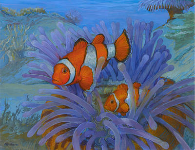 Anemonefish Painting - Orange Clownfish by ACE Coinage painting by Michael Rothman