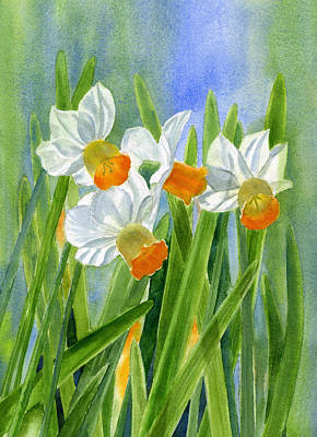 Spring Bulbs Painting - Orange Daffodils With Background by Sharon Freeman