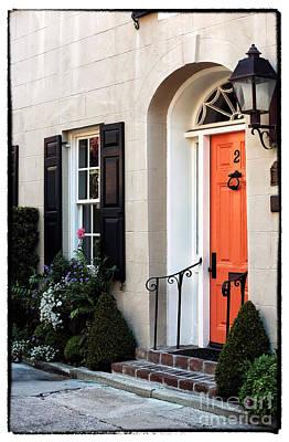 Old School Houses Photograph - Orange Door In Charleston by John Rizzuto