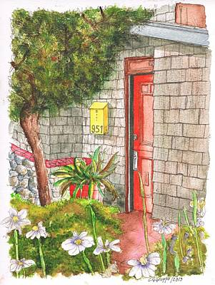 Mail Box Painting - Orange Door In Laguna Beach - California by Carlos G Groppa