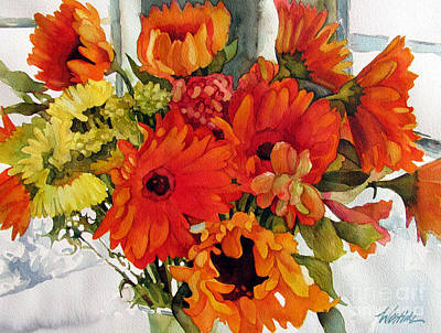 Gerbera Painting - Orange Gerberas by Wendy Westlake