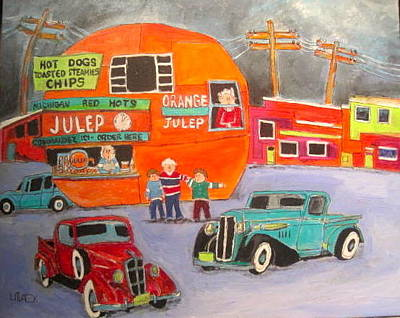 Orange Julep Painting - Orange Julep Trucks Montreal Memories by Michael Litvack
