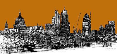London Skyline Drawing - Dark Ink With Bright Orange London Skies by Adendorff Design