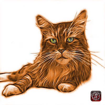 Cats Painting - Orange Maine Coon Cat - 3926 - Wb by James Ahn