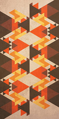 Tribal Digital Art - Orange Maze by VessDSign