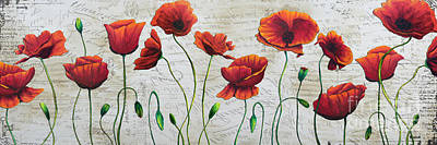 Orange Poppies Original Abstract Flower Painting By Megan Duncanson Print by Megan Duncanson