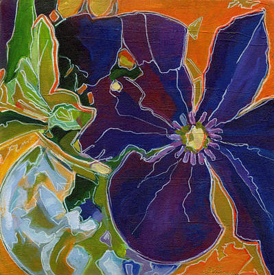 Clematis Painting - Orange Purple And Lime Green  by Tanya Filichkin