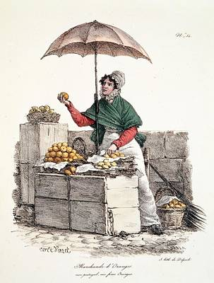 Street Drawing - Orange Seller, Print Made By Delpech by Carle Vernet