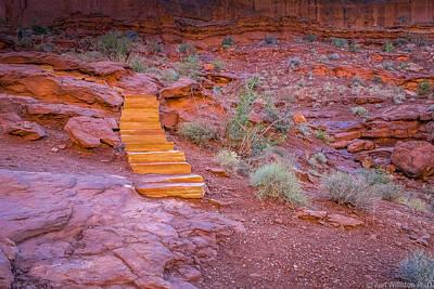 Impasto Oil Photograph - Orange Steps On Red Rocks by Zen Williston