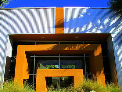 Orange Stucco Sheet Metal Glass And Grasses Print by Randall Weidner