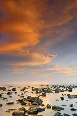 Orange Sunset At The Rocks Print by Guido Montanes Castillo