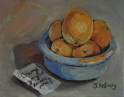 Fiestaware Painting - Orange You Glad To See Me? by Jennifer Kafoury