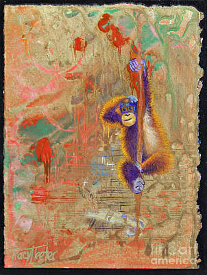 Orangutan Painting - Orangutan Abstract by Tracy L Teeter