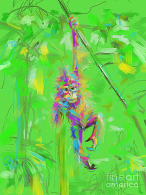 Orangutan Digital Art - Orangutan Baby In Color by Go Van Kampen