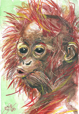Orangutan Digital Art - orangutan Sammy by Go Van Kampen