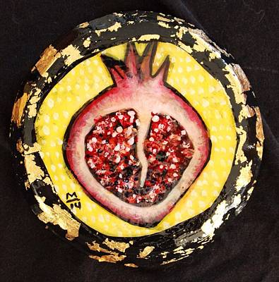 Modern Abstract Mixed Media - Orbis Pomegranate  by Mark M  Mellon
