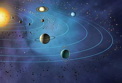 Space Photograph - Orbits Of Planets In The Solar System by Mark Garlick