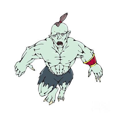 Goblin Digital Art - Orc Warrior Jumping Front Cartoon by Aloysius Patrimonio