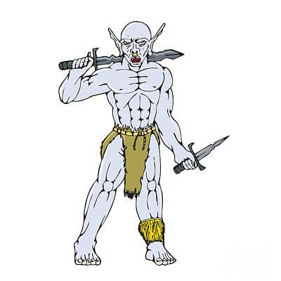 Goblin Digital Art - Orc Warrior Sword Dagger Cartoon by Aloysius Patrimonio