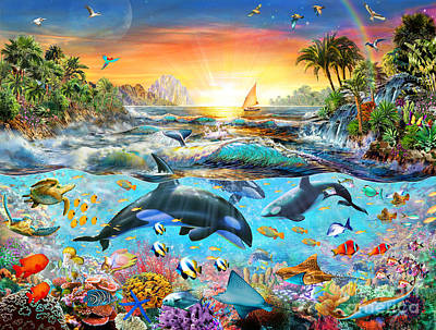 Orca Digital Art - Orca Paradise by Adrian Chesterman