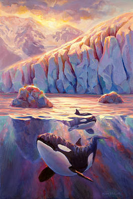 Orca Painting - Orca Sunrise At The Glacier by Karen Whitworth