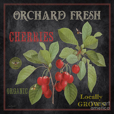 Orchard Fresh Cherries-jp2639 Print by Jean Plout