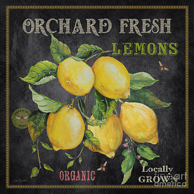 Locally Grown Painting - Orchard Fresh Lemons-jp2679 by Jean Plout