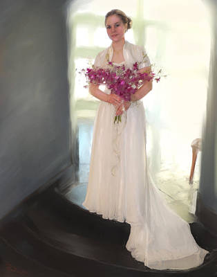 Orchid Bride Print by Donna  Martin