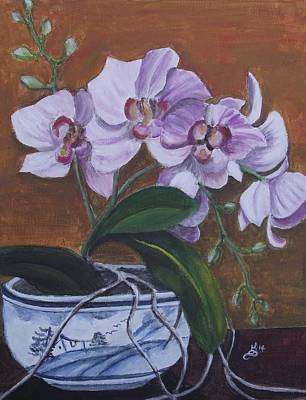 Orchid In Chinese Bowl Print by Kim Selig