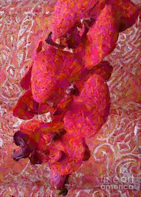 Floral Fabric Photograph - Orchid On Fabric by Barbie Corbett-Newmin