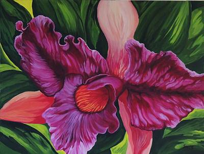 Jamaican Art Painting - Orchid by Sharon Fox-Mould