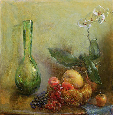 Orchid With Basket Of Fruit And Green Vase Oil On Canvas Print by Gail Schulman