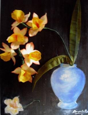 Orchids In A Vase Print by Brenda Almeida-Schwaar