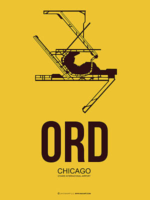 Sears Tower Mixed Media - Ord Chicago Airport Poster 1 by Naxart Studio