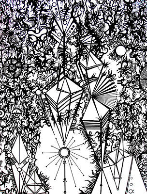 Abstract Shapes Drawing - Order And Chaos by Devin  Cogger
