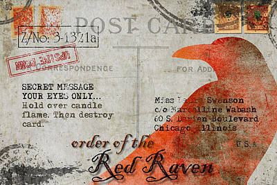 Order Of The Red Raven Faux Poste Print by Carol Leigh