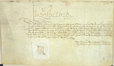 Order Signed By Elizabeth I Print by British Library