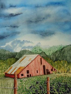 Garden Scene Painting - Oregon Barn by Katherine Young-Beck