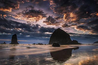 Cannon Beach Photograph - Oregon Coastal Sunset by Andrew Soundarajan