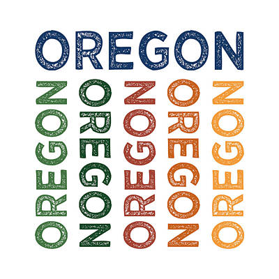 Oregon State Digital Art - Oregon Cute Colorful by Flo Karp
