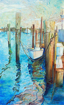 Marina Painting - Oregon Inlet by Arlissa Vaughn