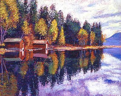 Boathouses Painting - Oregon Lake Boathouses by David Lloyd Glover
