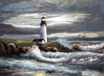 Oregon Painting - Oregon Lighthouse Beam Of Hope by Regina Femrite